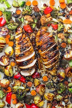 Sheet Pan Hoisin Chicken - an easy one pan meal with healthy roasted veggies. Best of all, clean up is a breeze so this is perfect for busy weeknights!
