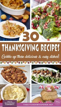 A collection of Thanksgiving-inspired recipes to celebrate the holiday deliciously. From candied pecans to bacon Brussels sprouts, dinner rolls to pie, these 30 recipes will have you and your guests gobbling everything up! Thanksgiving Appetizers, Thanksgiving Side Dishes, Thanksgiving Recipes, Fall Recipes, Holiday Recipes, Perfect Mashed Potatoes, Candied Sweet Potatoes, Green Bean Casserole, Sweet Potato Casserole