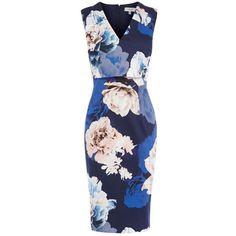 Coast Baltic Print Riminda Dress, Multi (500.330 IDR) ❤ liked on Polyvore featuring dresses, floral midi dress, v neck maxi dress, mini dress, sleeveless maxi dress and flower print dress