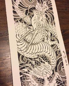 chinese koi fish tattoo - Tips When You Are Thinking Tattoo Japanese Mask Tattoo, Japanese Dragon Tattoos, Japanese Tattoo Designs, Dragon Tattoo Drawing, Alien Tattoo, Tattoo Tradicional, Dinosaur Tattoos, Japanese Drawings, Traditional Japanese Tattoos