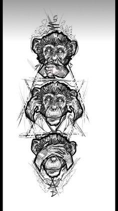 Design sketch with three monkey tattoos - # Tattoo Arm Designs, Sketch Tattoo Design, Tattoo Sketches, Tattoo Drawings, Sketch Design, Sketch Style Tattoos, Moños Tattoo, Back Tattoo, Totem Tattoo