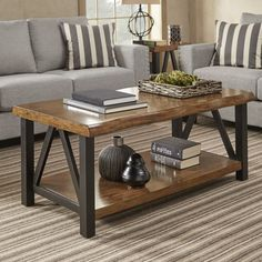 Banyan Live Edge Wood and Metal Accent Tables by iNSPIRE Q Coffee Table Transiti for sale online Diy Coffee Table, Decorating Coffee Tables, Coffee Table Design, Coffee Coffee, Coffee Beans, Coffee Pods, Coffee Maker, Coffee Creamer, Natural Wood Coffee Table