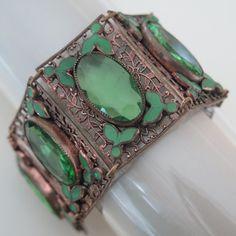 """Vtg Art Deco Czech Peridot Green Glass Enamel 1.5"""" Dot and Leaf Wide Bracelet"""