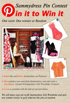One week, one winner at Random! Pin it to update your *Fall Wardrobe!  -Repin this and follow us: pinterest.com/sammydress -Pin a product from Sammydress.com with description: I joined @Sammydress Fall Wardrobe #Contest ! -Leave a comment with the link of your pin here: http://pinterest.com/pin/339881103097713073/ Good Luck, pinners!