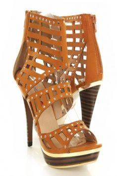 Tan Faux Leather Cutout Studded Platform Gladiator Heels $30.99