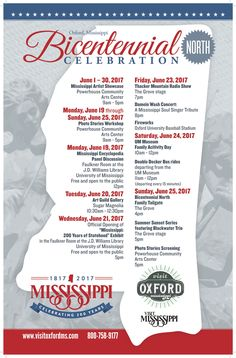 MS Bicentennial Celebration North in Oxford, MS! http://200.visitmississippi.org/events/north-event/