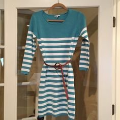 Teal/Cream Striped Sweater Dress with Brown Belt Never been worn Charlotte Russe dress. Small imperfection next to tag. (Shown in picture) Charlotte Russe Dresses