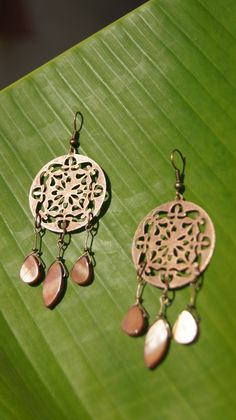 Penny For Your Thoughts- Copper, Dream Catcher, Dangle Earrings with Copper Colored Mother Of Pearl Beads