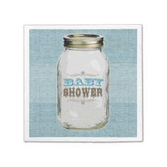 Mason Jar Vintage Look Blue Baby Shower Paper Napkins