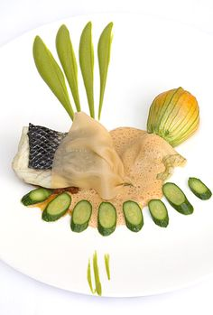 Steamed Seabass with a Stuffed Courgette Flower From The Square Restaurant, London
