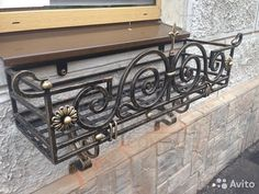 Railing Flower Boxes, Metal Driveway Gates, Iron Window Grill, Outside Benches, Balcony Railing Design, Iron Gate Design, Small Balcony Garden, Iron Balcony, Decorative Screens