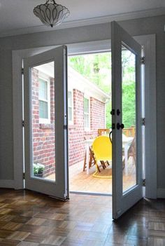 replace exterior french doors. replace sliding glass doors with french doors, as they did here.: exterior