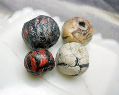 Polymer Clay Beads - 4 Rustic Cane Beads - Striped Snake Cane - Faux Trade Beads - Tribal Cream, Black, Red - Unearthed Patina Chunky Beads