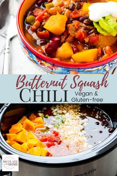 Yummy Butternut Squash Chili is made in your slow cooker and is a dump and go fall soup! It's a vegetarian chili that's simple to make with store bought peeled and cut butternut squash, pinto, kidney, and black beans, onion, chili seasonings and tomatoes. Gluten-free, Vegan, low in fat and calories. Vegan, gluten-free, low calorie and low fat. Click the link to get this yummy recipe!