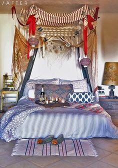 Inspiring 66 Mysterious Moroccan Bedroom Designs : 66 Mysterious Moroccan Bedroom Designs With White Blue Bedroom Wall Bed Pillow Blanket Nightstand Lamp Curtain Carpet And Ceramic Floor