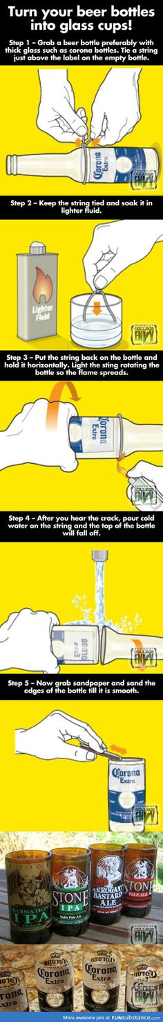 how to turn bottles into cups