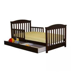 Dream On Me Mission Style Toddler Bed with Storage Drawer in Espresso - 651-E