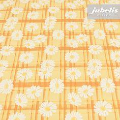 jubelis® Tischwäsche abwaschbar Wachstücher mit Blumen Design Smilla gelb und weiß