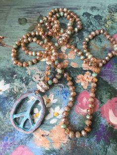 PEACE LOVE BLING Bohemian glam hand knot patina by MarleeLovesRoxy