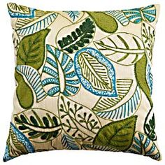 Allover Leaves Pillow, Pier 1, $34.95  Another blue and green pillow. Loving these from Pier 1!