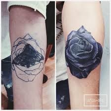 Image result for black flower tattoo cover up