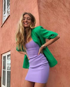 The New Colour Combinations We're Trialling for Spring — Who What Wear UK Purple Fashion, Fashion Colours, Colorful Fashion, Look Fashion, Girl Fashion, Purple Outfits, Colourful Outfits, Spring Outfits, Purple Dress
