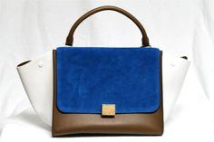 Celine Tricolor Bright Blue Leather & Suede Small Trapeze Bag