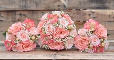 Peach and Coral Rose, Coral Dahlia with Ivory Babies Breath Silk Wedding Flower Bouquet Set. See more here: https://www.etsy.com/listing/180016384/silk-wedding-bouquet-shown-with-two?ga_order=most_relevant&ga_search_type=all&ga_view_type=gallery&ga_search_query=silk%20wedding%20bouquet&ref=sr_gallery_5