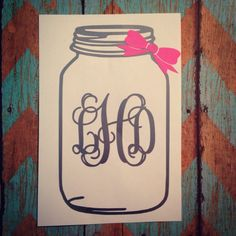 Personalized Mason Jar Vinyl Decal by TaylorMaidCrafts on Etsy