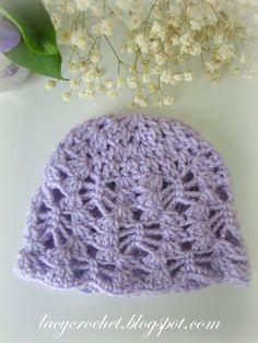 Lacy Crochet: Lacy Stitch Newborn Hat, Free Crochet Pattern