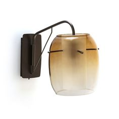 Linterna Contemporary Wall Light in Glass & Metal AM. Like a contemporary lantern, this original and stylish ceiling light diffuses a warm, soft and subdued light. Contemporary Wall Lights, Modern Wall Lights, Glass Wall Lights, Sandblasted Glass, Perforated Metal, Structure Metal, Ambre, Glass Texture, Glass Globe