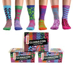 Glamazon Ladies Socks United Odd Socks Glamazon Collection For Women Its a jungle out there, girls! So take a walk on the wild side and release your inner tiger with United Oddsocks Glamazon. Six funky animal print odd soc http://www.MightGet.com/january-2017-13/unbranded-glamazon-ladies-socks.asp