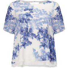 Phase Eight Padua Floral Blouse, Ivory/Anenome ($56) ❤ liked on Polyvore featuring tops, blouses, cutout blouse, short sleeve tops, cut out sleeve top, print blouse and cut out top