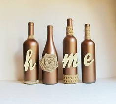 Copper Home Bottle Set Home Bottle Set Rustic Bottle Set Glass Bottle Crafts, Wine Bottle Art, Diy Bottle, Bottles And Jars, Glass Bottles, Wrapped Wine Bottles, Recycled Wine Bottles, Wine Craft, Altered Bottles