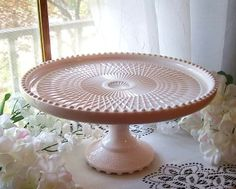 Image detail for -EXQUISITE JEANETTE HARP SHELL PINK MILK GLASS PEDESTAL CAKE… Vintage Cake Plates, Vintage Cake Stands, Vintage Dishes, Vintage Glassware, Milk Glass Cake Stand, Pedestal Cake Stand, Eclectic Dinnerware, Pink Dishes, Cake Accessories