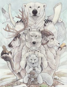 "Spirit Totem Animals: ""Arctic Treasures,"" by Goldenwolf, at deviantART. Arte Furry, Furry Art, Animal Spirit Guides, My Spirit Animal, Native Art, Native American Art, Spiritual Animal, Animal Medicine, Power Animal"