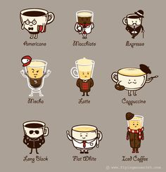 Coffee Personality Funny Cartoon Coffee Drink Types w/ Expressions Vinyl Sticker. - Coffee Personality Funny Cartoon Coffee Drink Types w/ Expressions Vinyl Sticker – Coffee Person - Coffee Type, I Love Coffee, My Coffee, Coffee Drinks, Coffee Beans, Coffee Mugs, Coffee Jello, Coffee Desk, Chemex Coffee