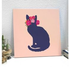 Placa Decorativa - Flower Cat