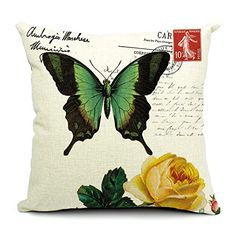 """Custom Cotton Linen Leaning Cushion Throw Pillow Covers Pillowslip Case,Size 17.7"""" x 17.7"""" Square ,Butterfly Flowers 003 serviceworld http://www.amazon.com/dp/B00N403ARS/ref=cm_sw_r_pi_dp_Oac0vb0C5GQBE"""