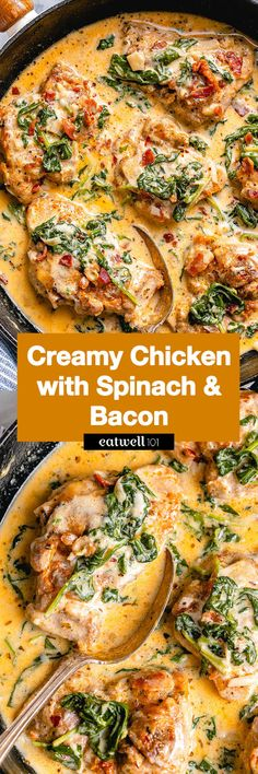 Garlic Butter Chicken with Creamy Spinach and Bacon - #chicken #recipe #eatwell101 - Rich, creamy, and hearty, everyone will love this easy chicken recipe with amazing flavor. - #recipe by #eatwell101