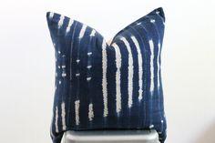 20x20 Vintage African Indigo Mudcloth Textile Stripe Boho Pillow Cover