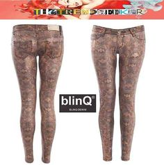 blinQ® Ladies Sexy Fall Winter Autumn Jeans Animal Snake Leopard Print Denim