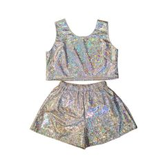 Holographic Top and Shorts Two Piece Co-Ord