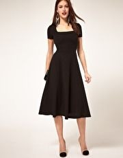ASOS Midi Dress With Square Neck - lately i am comming back to the midi dresses, they look so elegant