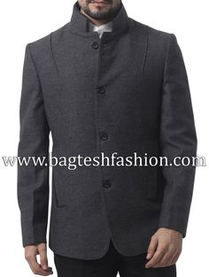 Amazing mens blazer made in gray color pure tweed wool fabric. Bold Fashion, Mens Fashion, Fashion Tips, Fashion Trends, Chinese Collar, Nehru Jackets, Blazers For Men, Sport Coat, Vest Jacket