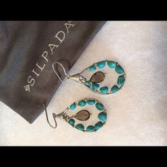 Retired Silpada earrings Turquoise and smoky topaz set in sterling silver.... Display Silpada Jewelry Earrings