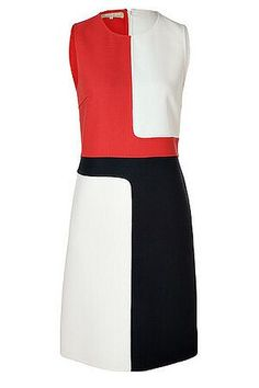 Michael Kors White Red Navy Wool Dress  $1,691  Round neckline sleeveless Red White Navy Wool Dress