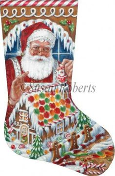 world class needlepoint santas gingerbread house hand painted needlepoint stocking canvas christmas needlepoint