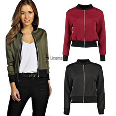 Womens Autumn Biker Coat Long Sleeve Zip Up Bomber Jacket Motorcycle Tops Lm