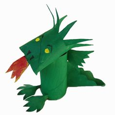 Toilet Paper Roll Dragon - in Spanish, but you can look at it and get the idea. Cardboard Rolls, Cardboard Box Crafts, Recycled Christmas Decorations, Paper Towel Roll Crafts, Castle Crafts, Art For Kids, Crafts For Kids, Monkey Crafts, Dinosaur Crafts